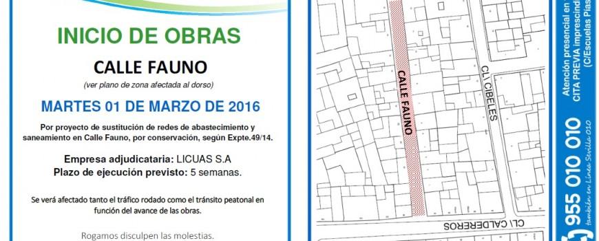 Obras en C/ Fauno (Sevilla)