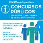 Exámenes Concursos Públicos: TGM para la Prevención de Riesgos Laborales y Peones Especialistas Electromecánica