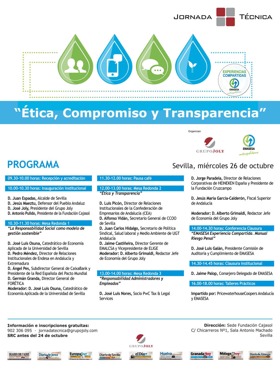 Programa. Jornada Técnica Ética, Compromiso y Transparencia
