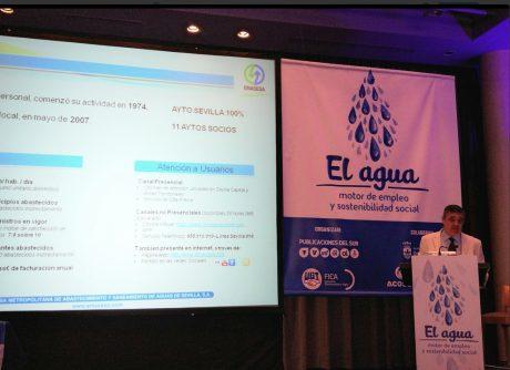 El Director Financiero y Comercial de EMASESA, Joaquín García Romero en su intervención en la Jornada ´El Agua, motor de empleo y sostenibilidad social´