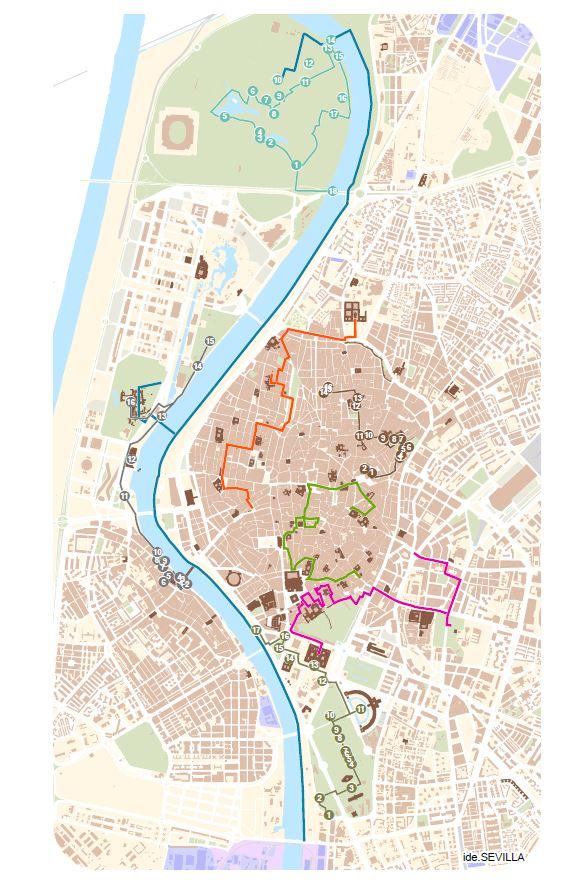 Zona Azul Sevilla Mapa.Rutas Del Agua En Sevilla Emasesa