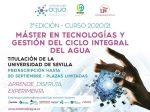 Abierto el plazo de inscripción a la tercera edición del Máster en Tecnologías y Gestión del Ciclo Integral del Agua organizado por la Universidad de Sevilla y EMASESA