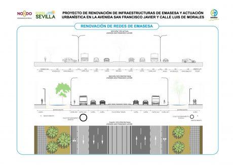 Redes Emasesa obras San Francisco Javier y Luis de Morales